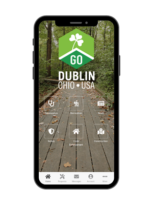 dublin ohio's godublin app homescreen has a coronavirus information button | rocksolid.com