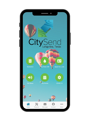 Longview, texas' citysend app homescreen in Rock Solid's new v3 design | rocksolid.com
