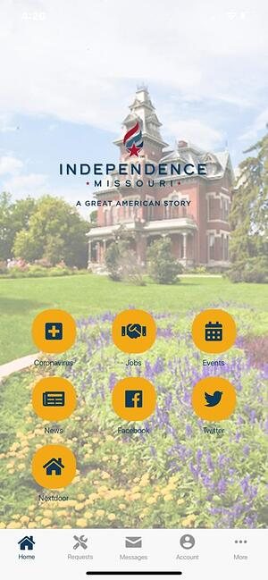 Independence, Missouri app featuring coronavirus information button | rocksolid.com