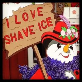 Issaquah washington photo of shaved ice snowman sign