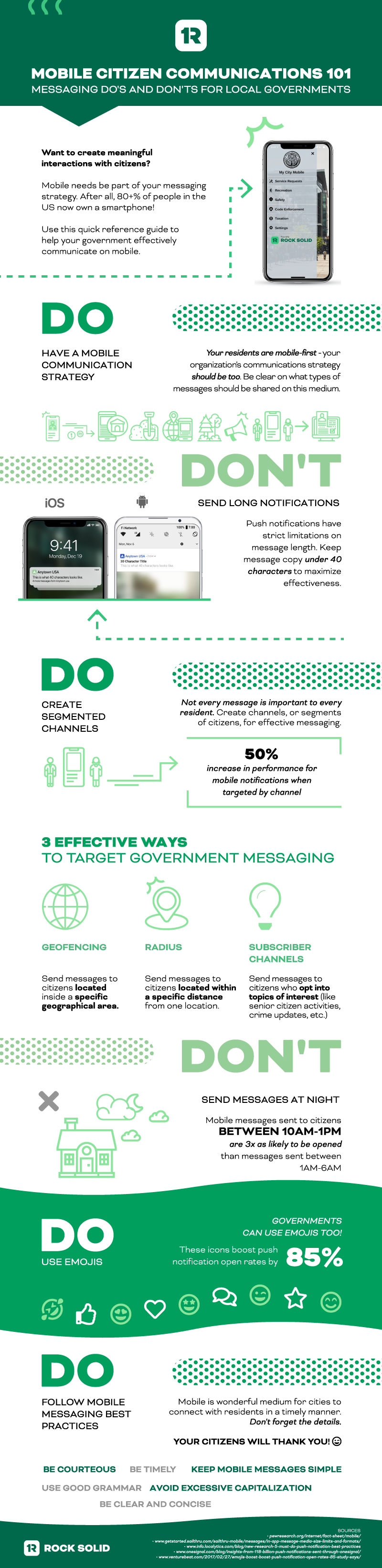 infographic featuring mobile messaging best practices and do's and don'ts for local governments | rocksolid.com