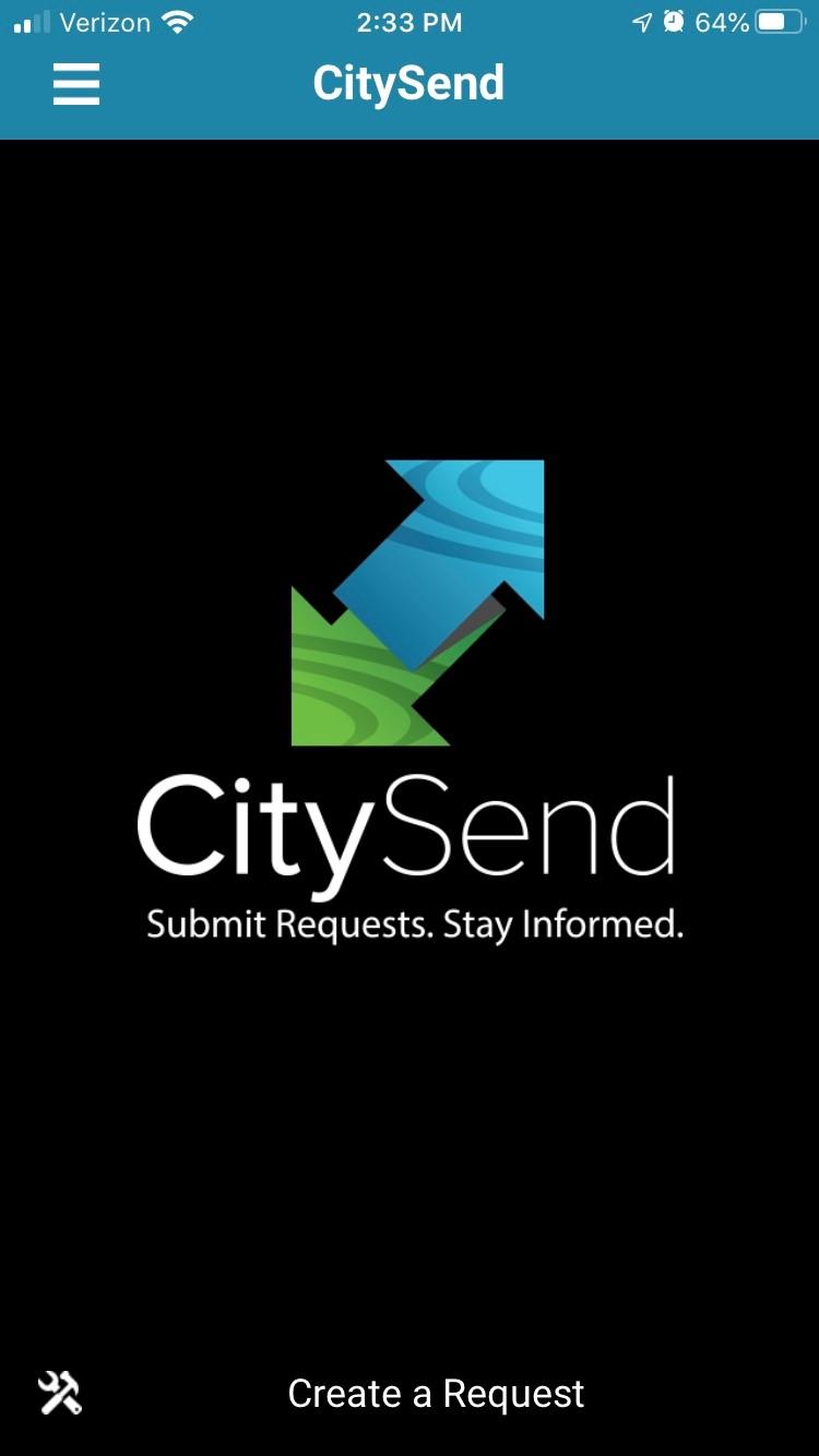 longview citysend 311 mobile app home screen | rocksolid.com