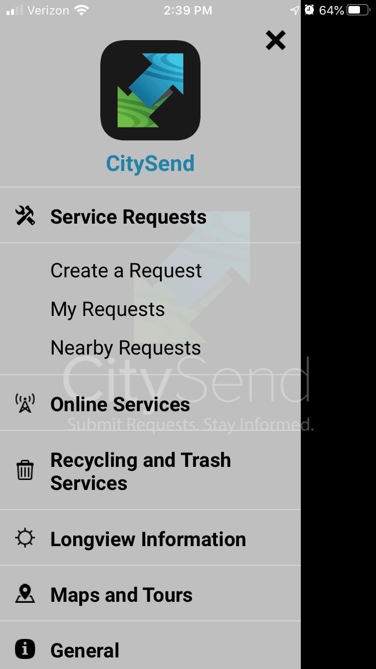 Main menu of longview, tx citysend 311 app | rocksolid.com