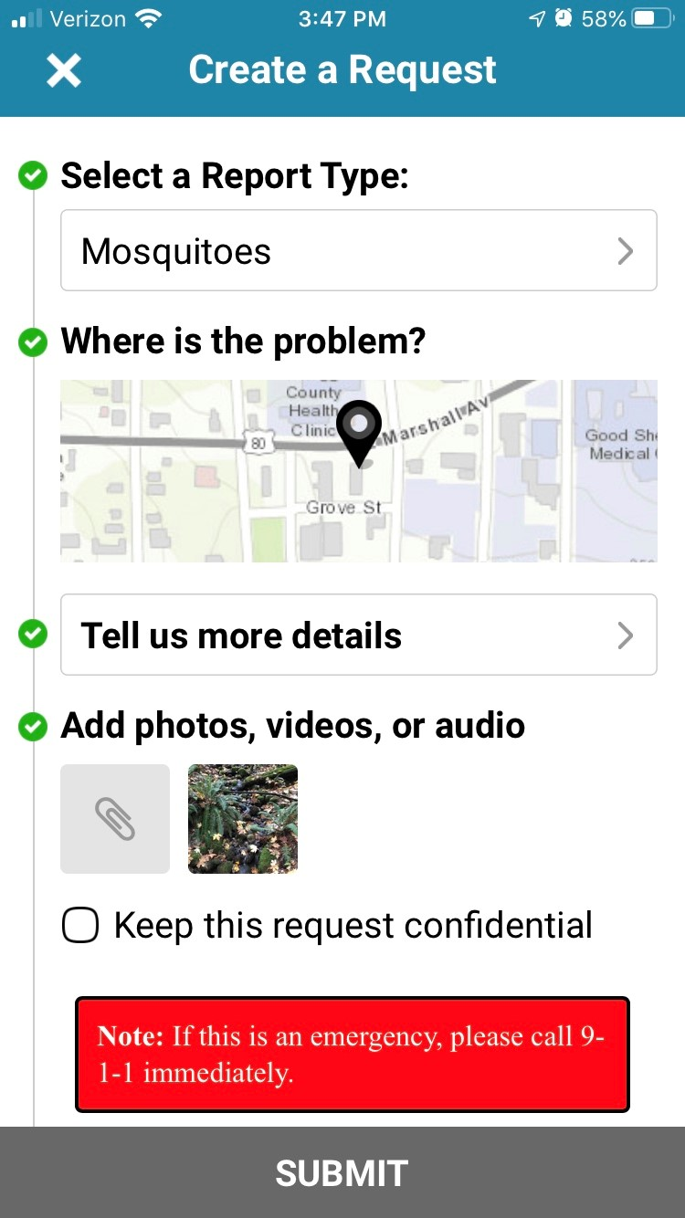 service request view in longview 311 app | rocksolid.com