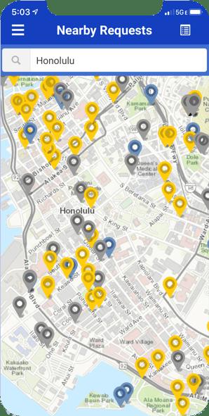 honolulu 311 screenshot of nearby service requests | rocksolid.com